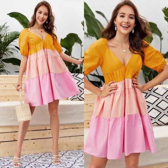 Colorblock Zip Back Babydoll Dress